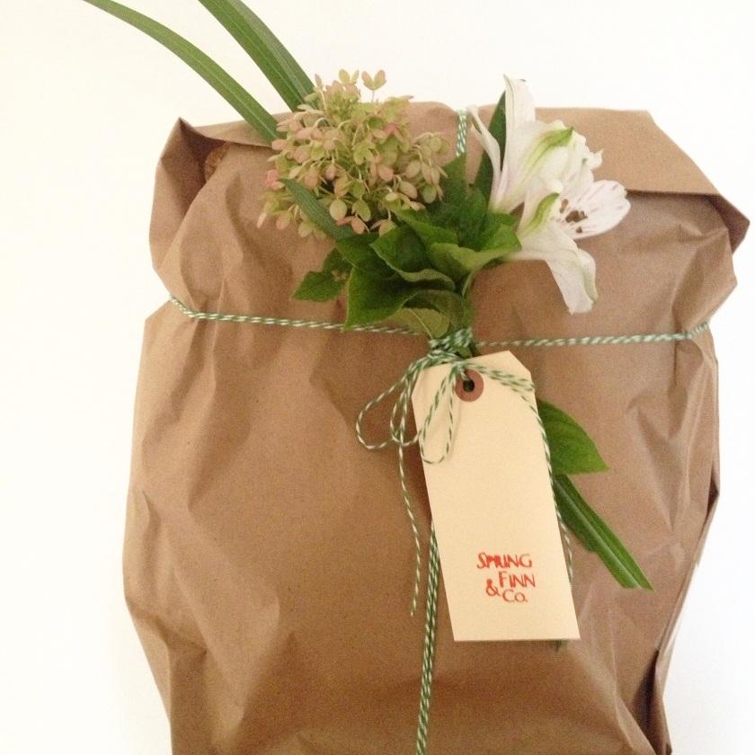 Kraft packaging with fresh flowers