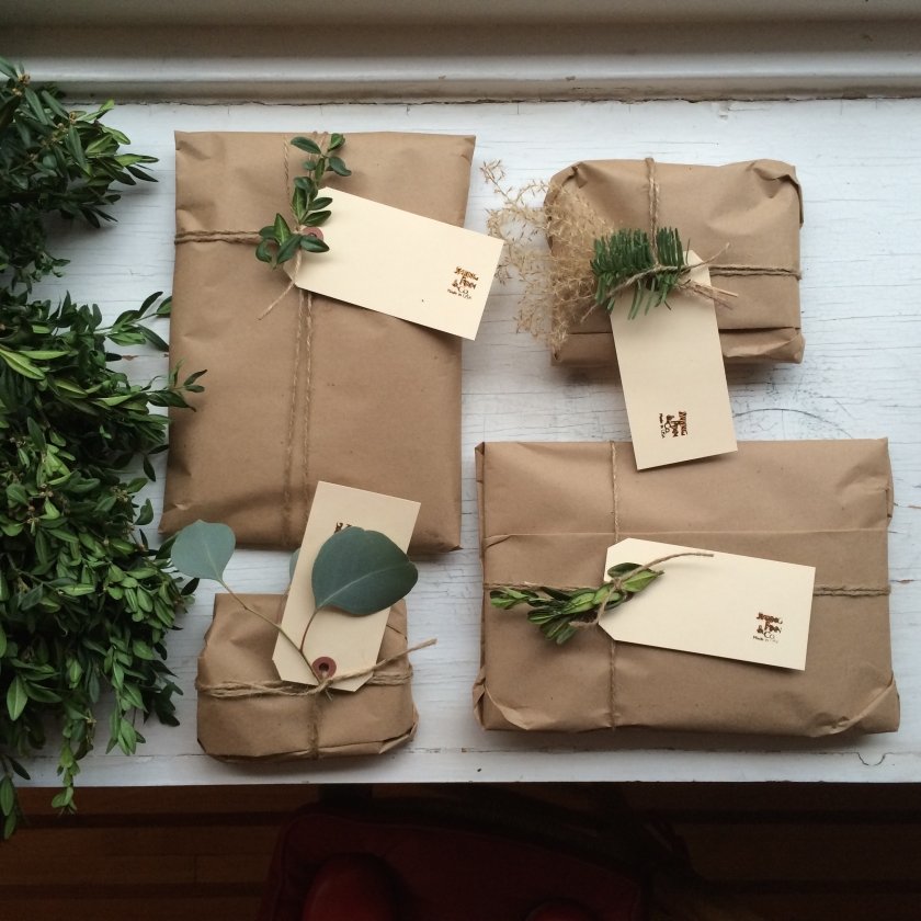 packaging with kraft and greens